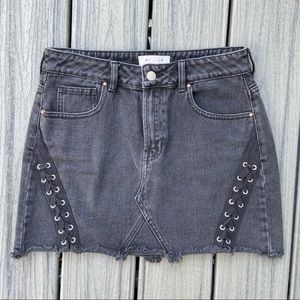 PacSun Denim Skirt with Lace Up Detailing — 26